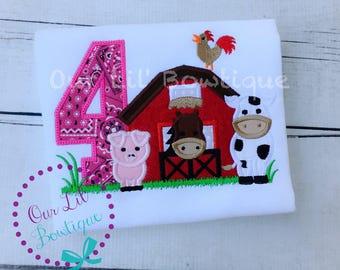 Farm Birthday Shirt - Personalized Cow T- Shirt - Farm Shirt - Barn Birthday Shirt - Tractor Birthday Shirt - Cow Shirt Pig Shirt -