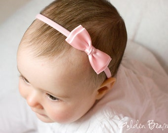 Soft Pink Olivia Baby Bow Headband - Flower Girl Headband - Soft Pink Olivia Satin Bow Handmade Headband - Baby to Adult Headband