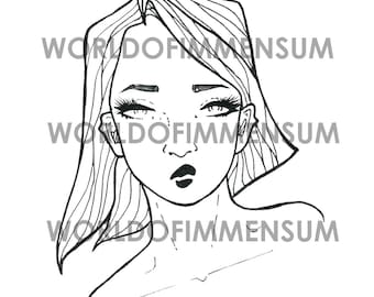 Female Face Digital Stamp Image - Printable Digistamp Clipart - PDF Download for Art Journals, Cardmaking, Collage and More!