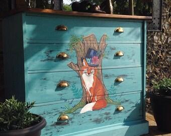 Gentleman Fox/Provence Blue/Green Annie Sloan Chalk Paint/Acrylics/Brass Finger Pull Handles/Dark Reclaimed Wood Top/ 4 Drawer Large Dresser
