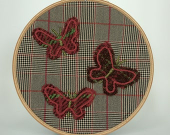 Tartan Check Butterfly Picture - Embroidery Wall Art/Hoop Art