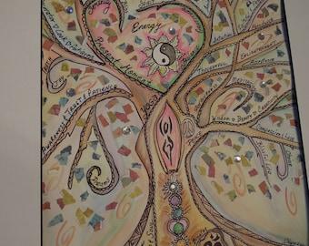 YOGA Tree of LIFE, Custom made, original watercolor painting, scrapbook paper collage, Meditation, Zen, New Age, Goddess, Spirit, Nature