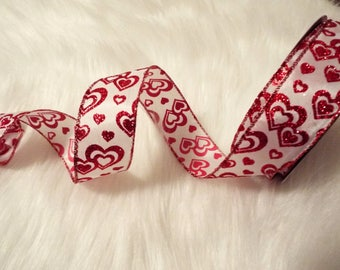 1.5 x 5 yards- White and red valentine ribbon, Valentine ribbon, heart ribbons, valentines day ribbon, Happy Valentines Day Ribbon