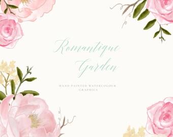 Flower Clip Art Hand Drawn Flowers and Wreath - Romantique Garden