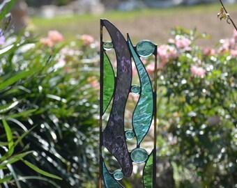 Stained Glass Garden Decoration - Windsong Glass Studio -  'Garden Genie'