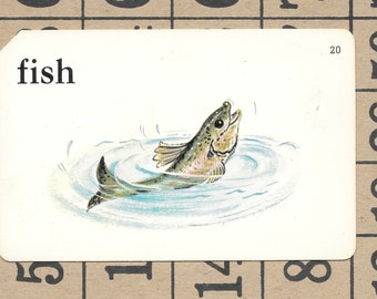 FISH/fishing/Vintage Vocabulary Flashcard