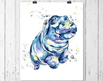 HIPPO PRINT, Hippo, Watercolour, Contemporary Art, Office Decor, Nursery art, Kids room, Bathroom Decor, Safari theme, Children's room, cute