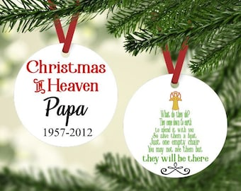 Memorial Christmas Ornament -  Christmas in Heaven Ornament - In Loving Memory Ornament - Personalized Christmas Ornament - Gift under 20
