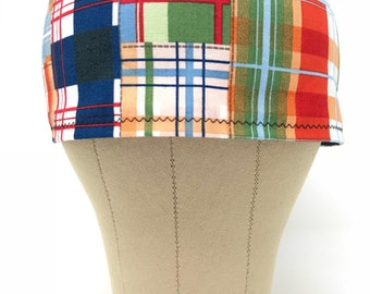 Casual Plaid Scrub Hat / Surgical Hats / Skull Caps / Chef Cap / Surgery / Chef's Cap / Chemo Hats / Men's Gift Ideas