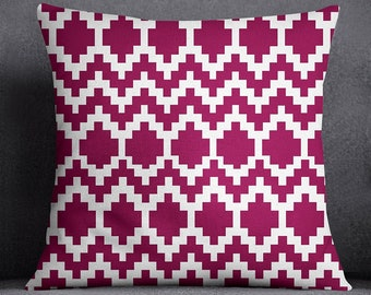 Maroon Modern Cushion Cover, Ikat Print Pillow Case, Canvas Throw Pillow Covers, Satin Cushion Cover For Living Room, ISUB-SAS270D