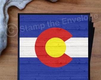 Colorado Flag Coasters - Colorado  Gifts - Set of 4 Bar Coasters - Bar Gift Ideas - Quality Wood Coasters