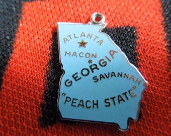 Sterling Enamel Georgia Charm State of Georgia Map Charm Sterling Silver Charm for Bracelet from Charmhuntress 04967
