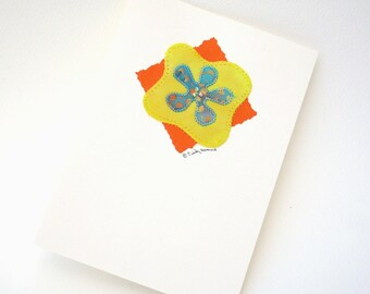 Handmade Greeting Card - Turquoise Yellow Orange Flower Beaded