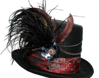 Black Wool Top Hat Black Dahlia Gothic Steampunk Traveler Mens Cosplay Red Blue