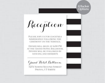 Printable OR Printed Wedding Reception Cards - Black and White Reception Inserts - Calligraphy Wedding Reception Invitation Insert 0005
