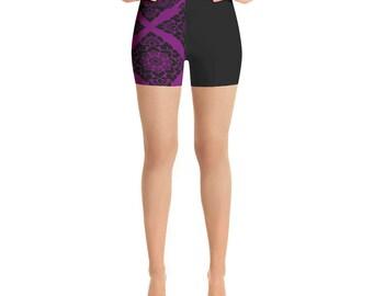 Black and Violet Yoga Shorts