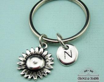 Sunflower Keychain, Sunflower Charm, Flower Keychain, Flower Charm, Initial Charm, Personalized Gift, Friend Gift, Custom, Monogram, CPL007