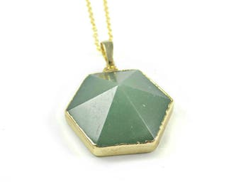 Aventurine Pendant, Green Gemstone Necklace, Modern Statement Necklace Natural Gemstone Green Crystal Gold Dipped Gem Jewellery Heart Chakra