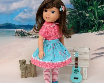 Poolside Flamingo - Blouse, skirt, tights & shoes for Wellie Wisher doll
