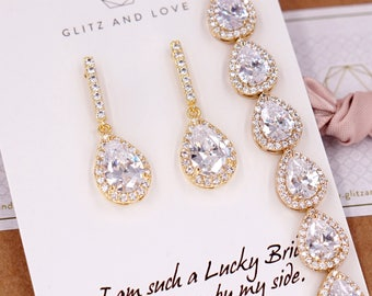 Gold Wedding Bridesmaid Gift Bridal Earrings Necklace Bracelet Jewelry Set Clear White Cubic Zirconia Teardrop Ear Studs E306 B85 N221