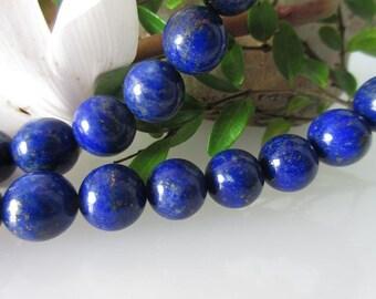 Lapis Lazuli Ball Strand 10 mm, naturally beautiful polish