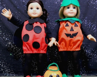 Pumpkin or Ladybug Halloween Costume for American Girl Dolls