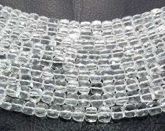 "Beautiful Eye Catching Clarity: Natural Rock Crystal MicroFaceted Cube Briolette-7-8mm 8"" Strand-Rock Crystal Briolette"