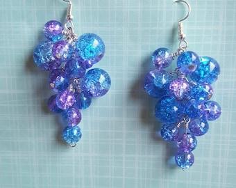 Purple Glass cluster earrings