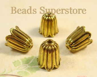 11 mm x 10 mm Antique Gold Bell Flower Bead Cap - Nickel Free, Lead Free and Cadmium Free - 10 pcs