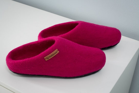 Wool leather Felt 100 handmade Slippers sole Feltiness with w77qgYxA