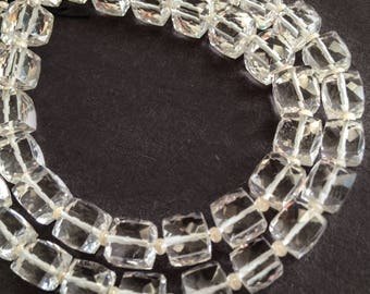 Crystal quartz faceted  cubes.  Approx. 6x6mm.   Select a quantity.