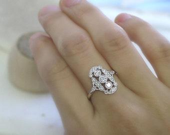 18K solid gold three round diamonds art deco ring