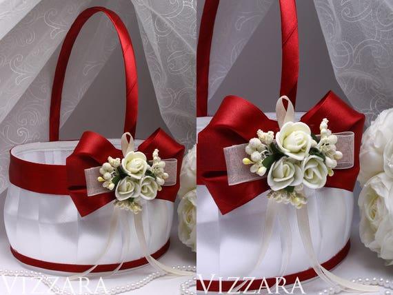 Wine wedding red flower girl baskets vintage wedding party mightylinksfo
