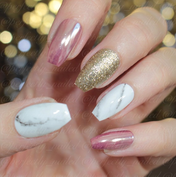 Rose chrome, gold glitter and marble gel nails • Handpainted False ...