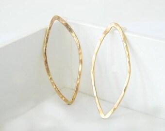 Geometric Earrings, Leaf Earrings, Gold Earrings, Gold Leaf Earrings, Silver Earrings, Stud Earrings, Dainty Earrings, Simple Earrings