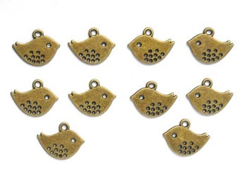 10 Antiqued Bronze Bird Charms - 21-16-5