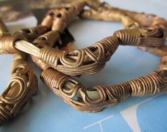 Akan Brass Beads, Baule Beads, Cast Brass Lattice Bead, African Trade Beads, Oblong Brass Beads, Elbow Ashanti, 5 Pcs