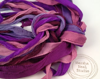 Silk Ribbon - Hand Painted Silk - Silky Ribbon - Fairy Ribbon - Jewelry Supplies - Wrap Bracelet - Craft Supplies - Chloe's Purple Color