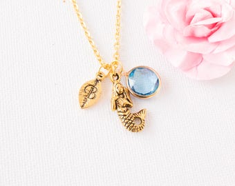 gold personalized mermaid necklace, gold mermaid pendant, mermaid charm necklace, mermaid jewelry, birthstone necklace, bridesmaid gift