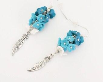 Earrings romantic turquoise flowers