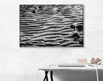 Tide Going Out, Ripples on the Beach. Abstract Photo Wall Art Print in black and white