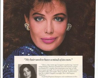 1987 Advertisement Pantene Kelly LeBrock Don't Hate Me Because Beautiful Hair Care Products Salon Hairdresser Stylist Model Wall Art Decor