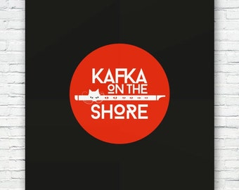 Kafka & the Cat - Haruki Murakami poster print. Matte and Giclee Illustration Art Prints. Wall Art, Home Decor, Prints of London