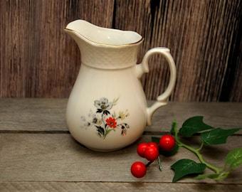 Vintage Creamer Milk Jug with Pink Flower Vintage milk jug USSR Vintage Cream Pitcher White Ceramic Pitcher Jug Czechoslovakia