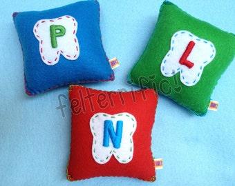 Handmade Monogrammed Initial Felt Tooth Fairy Pillow Boy or Girl
