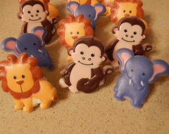 24 Zoo Animals Cupcake Cake Topper Rings Birthday Party Decoration