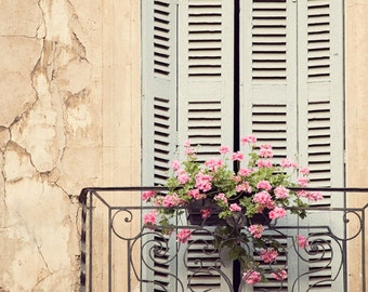 "Rustic French Country Window Print, French Architecture, French Country Decor, Shabby Chic Wall Art, Provence Photography ""Window Treatment"""