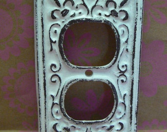 Fleur de lis Cast Iron FDL Plug Plate Cover Single Wall Shabby Elegance Distressed Rustic French Decor FDL White DIY Remodel