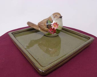 Small Brown Bird with Flowers on Square Trinket Tray