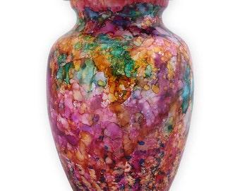 Hand Painted Child Urn, Kaleidoscope Urn, Painted Pink Urn
